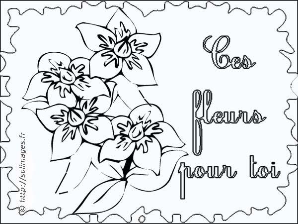 Coloriage carte fleur - Coloriage fleur a imprimer ...