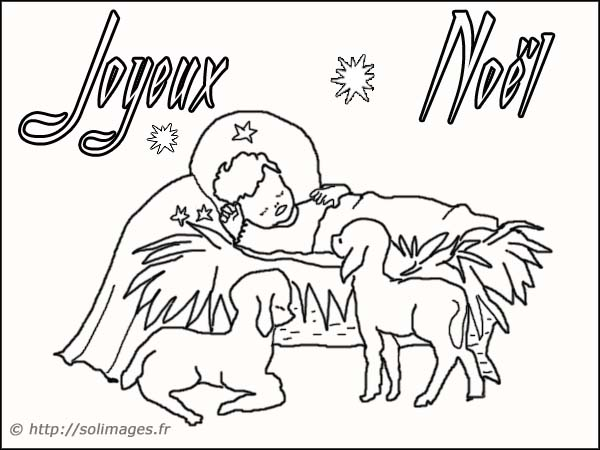 Coloriages cartes virtuelles - Coloriage creche de noel ...